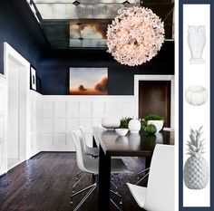blue white modern traditional dining room