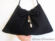 Black crochet shoulder bag with bow, bow bag,black cotton bag,handmade bag