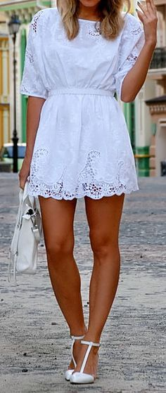 Crochet Lace Frill White Dress <3....very cute with a pair of leggings