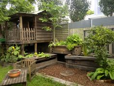 Beautiful outdoor aquaponics system with wood