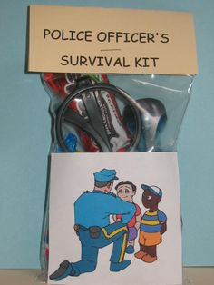 I love these!! You gotta read the pic that tells what all the stuff means. POLICE OFFICER'S SURVIVAL KIT KIDS by howadorable on Etsy  police wife thin blue line