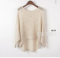 Autumn new arrival 2012 women's fashion long-sleeve irregular paillette knitted shirt loose sweater $23.28