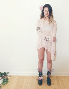 wildfox sweater and floral boots (rock n' roll tea photo shoot)