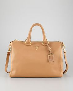 Prada Daino Zip-Top Medium Tote Bag, Natural - Neiman Marcus, really too big for my purposes