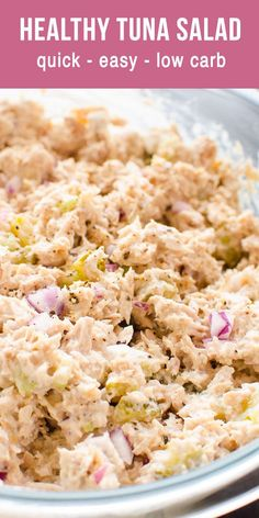 Healthy Tuna Salad with less mayo that actually tastes good. Healthy tuna salad recipe that is creamy, fluffy and flavorful. Meal prep, refrigerate for up to 5 days and use healthy tuna salad for school and work lunches, cold dinner or easy weekend meal. Healthy Tuna Salad, Salad Recipes Healthy Lunch, Tuna Recipes, Healthy Food, Healthy Mayo, Easy Salads, Avocado Recipes, Healthy Family Meals, Family Recipes