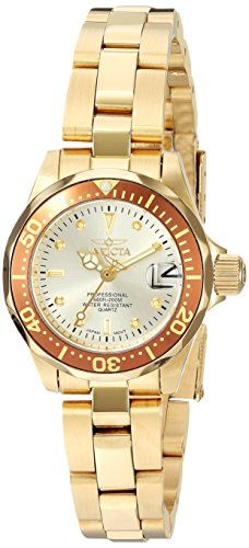 Invicta Women's 12527 Pro-Diver 18k Gold Ion-Plated Stainless Steel and Champagne Dial Bracelet Watch - http://www.darrenblogs.com/2017/04/invicta-womens-12527-pro-diver-18k-gold-ion-plated-stainless-steel-and-champagne-dial-bracelet-watch/