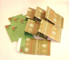6 Embellished Holly Cards & Matching Envelopes - Repurposed Christmas Paper, Green Card Stock. $3.75, via Etsy.