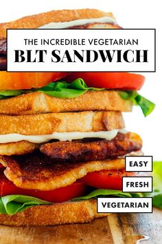 Try this vegetarian riff on a BLT sandwich! Instead of bacon, we'll use pan-fried halloumi cheese, which is similarly chewy, salty, golden and tasty. Enjoy this recipe during tomato season! #blt #sandwich #vegetarian #halloumi #cookieandkate Veggie Sandwich, Sandwich Recipes, Fried Halloumi, Coconut Bacon, Gourmet Cheese, Tomato Season, Vegetarian Recipes, Vegetarian Dinners, Veggie Recipes
