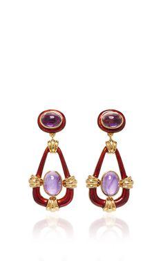 Cabochon Amethyst Earrings by DAVID WEBB for Preorder on Moda Operandi