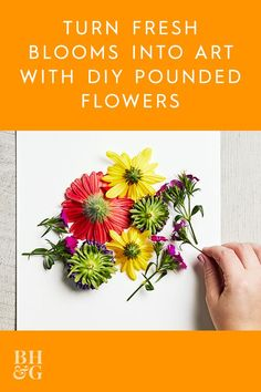 This simple flower pounding technique makes it easy to transform fresh flowers into a gorgeous art piece anyone will love. Grab a store-bought bouquet (or pick a few of her favorite flowers from the garden) and turn the flowers into pretty, handmade wall art. Our easy pounding technique makes it so easy to transfer the bright blooms onto watercolor paper. #poundedflowerart #flowercrafts #art #bhg Creative Crafts, Fun Crafts, Paper Crafts, Simple Flowers, Fresh Flowers, Kid Art, Art For Kids, Flower Crafts, Flower Art