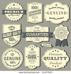A set of vintage design labels and badges. by Iveta Angelova, via ShutterStock