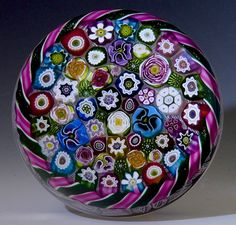 """Gary Scrutton / Parabelle Studios paperweight - ARTIST PROOF CLOSE PACKED MILLEFIORI WITH TWIST TORSADE AND UPSET MUSLIN GROUND, 1998, 3 1/8""""w x 2 1/8""""t, 17.56 oz. - #0675"""
