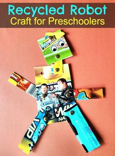 Robot craft for kids made with recycled products.