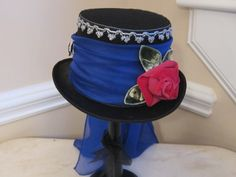 Black Top Hat Stevie Nicks Inspired  Blue by MoonbeamEmporium