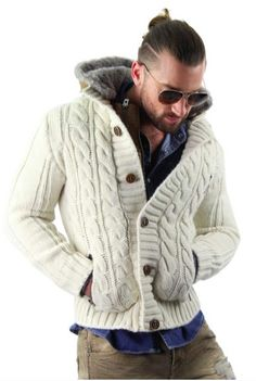 Cable Knit Cardigan With Fur Hood. Be warm and trendy with this cable knit cardigan. Sold differio.com