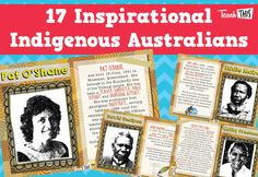 This set of posters celebrates 17 Famous Indigenous Australians, whose contributions to Australia have been signficant, and who are inspirational individuals to generations to come. Aboriginal Education, Indigenous Education, Aboriginal Culture, Aboriginal People, Naidoc Week Activities, Book Activities, Teaching Culture, Australian People, Family Day Care