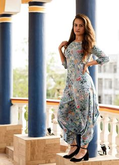 blue and floral Dhoti Jumpsuit hot Stylish Dress Designs, Designs For Dresses, Stylish Dresses, Fashion Dresses, Pakistani Dress Design, Pakistani Dresses, Indian Dresses, Indian Outfits, Indian Designer Suits