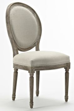 Chaise MEDAILLON en chêne coloris écru - Tek Import : www.tekimport.fr Accent Chairs, Dining Chairs, Antiques, Wood, Furniture, Homes, French, Home Decor, Chairs