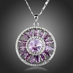 This well designed Shining Ferris wheel Purple Cubic Zirconia Pendant Necklace is excellent pick for those that loves shining elegant look. Chocker Necklace, Circle Necklace, Necklace Types, Women's Earrings, Pendant Necklace, Blue Topaz Diamond, Diamond Heart, Purple Pendants, Cheap Necklaces