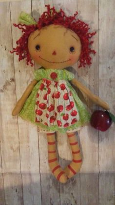 Items similar to Primitive Raggedy Ann Dolls with apple on Etsy Maker Shop, Apple Prints, Ann Doll, Annie, Raggedy Ann And Andy, Sewing Dolls, Soft Dolls, Doll Face, Doll Patterns