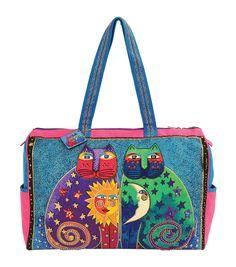 Laurel Burch Travel Bag 21''x8''x15''-Celestial Felines