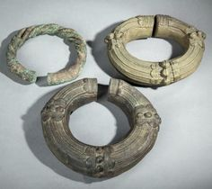 Africa   Two bracelets from the Baule people and one excavated Gurunsi bracelet   400€ ~ sold (April '14)