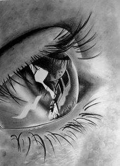 Photorealistic pencil drawing. Love the eyelashes!