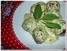 Le Ricette della Nonna: Polpette di pane vegetariane con salsa di panna al... Salvia, Pane, Sprouts, Meat, Chicken, Vegetables, Food, Sage, Veggie Food
