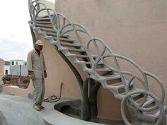 Concrete staircase.