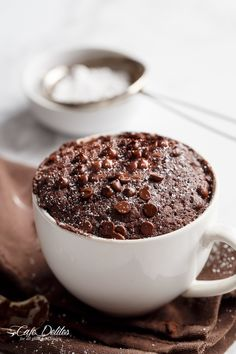 Low Fat Double Chocolate Mug Cake recipe WITH another video. Ready in less than one minute! Fluffy. Buttery and soft. The BEST low fat, guilt-free mug cake!   http://cafedelites.com