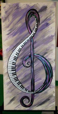 30 Trendy Ideas For Music Arte Diy Paintings Treble Clef Music Painting, Music Artwork, Byob Painting, Music Notes Art, Sheet Music Art, Wine Painting, Painting Classes, Music Canvas, Canvas Art
