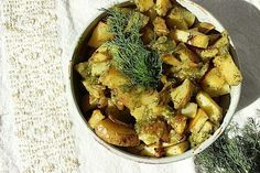 Roasted Garlic-Shallot Potatoes with Creamy Dill Sauce  http://www.eatingbyelaine.com/2015/03/29/roasted-garlic-shallot-potatoes-with-creamy-dill-sauce/  Ho-hum potatoes are livened up with a thick and creamy dill sauce.  Dill screams spring-time and adds a fresh spark to recipes.  Garlic lovers will rejoice in these crispy and fresh tasting potato cubes.