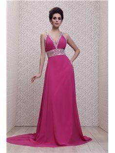 エンパイアVネック ブラシトレイン フロアレングス Talineのイブニングドレス