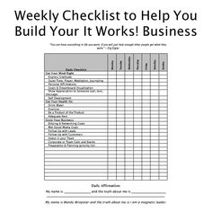 The quarterly planner helps you stay fresh each quarter. It has tons of room for notes between each week and at the end of the planner. Between each week there is a checklist to keep you on track. It Works Global, My It Works, It Works Marketing, Business Marketing, It Works Loyal Customer, It Works Distributor, Independent Distributor, Goals Sheet, Daily Checklist