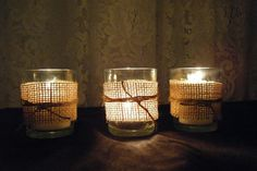 Burlap and twine wraps for votives - too cute