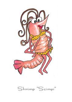 Shrimp Scimpi by Elaine Hodges Shrimp Cartoon, Festival Decorations, Beach Decorations, Shrimp Festival, Fish Illustration, Illustrations, Painted Rocks, Hand Painted, Cartoon Painting
