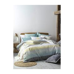 Linen House Geo stripe quilted duvet cover set ($100) ❤ liked on Polyvore featuring home, bed & bath, bedding, duvet covers, queen duvet cover sets, king duvet set, king pillow shams, king size pillow shams and king duvet cover sets