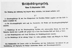 Text of the Reich Citizenship Law of September 15, 1935 and the Law for the Protection of German Blood and Honor of September 15, 1935 (Nuremberg Race Laws).