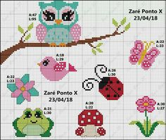 Ponto cruz Tiny Cross Stitch, Cross Stitch For Kids, Cross Stitch Bookmarks, Cross Stitch Animals, Cross Stitch Designs, Cross Stitch Patterns, Owl Crochet Patterns, Loom Patterns, Cross Stitching