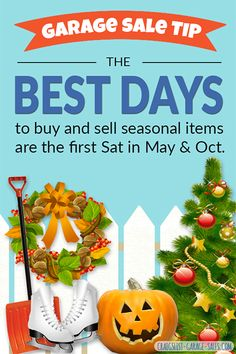 Seasonal Garage Sale Price Guide... #GarageSale Resource: The Best Days to buy and sell second hand Seasonal items | Garage Sale Pricing Guide - OKC Craigslist Garage Sales