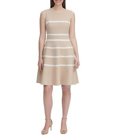 Tommy Hilfiger Scuba Crepe Horizontal Stripe Sleeveless A-Line Dress Scuba Dress, Tommy Hilfiger Women, Girls Night Out, Fit Flare Dress, Dresses For Work, Street Style, Clothes For Women, Dillards, Amp