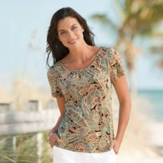 Voyager Knit Top from TravelSmith - perfect for sightseeing in the city and easy to layer with a jacket