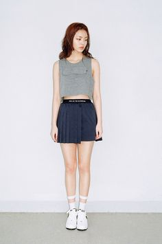 We+Are+Selecters+-+NAVY+UNBALANCE+PLEATS+SKIRT
