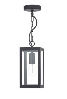 LOT0122 Lotus 1 Light Lantern Pendant in Black Box pendant with bevelled glass…