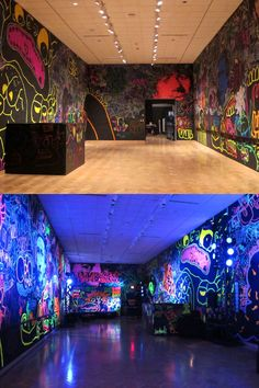 Glow in the dark graffiti. Who does not want a party room in their gothic house. Glow Paint, Blacklight Party, Deco Originale, Graffiti Wall, Graffiti Bedroom, Neon Glow, Space Theme, Teen Girl Bedrooms, Light Painting
