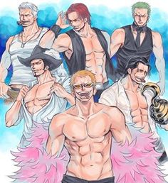 Why, hello there! This is a very nice collection of my favourite male characters from OP <3 But as much as I love Zoro, he somehow doesn't fit in there, don't you think? He's too young to be part of this group.