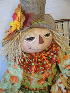 Scarecrow Male Art Doll Primitive Fall by MorningMistDesigns