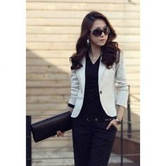 $7.90 Slimming Turn-Down Collar Single-Breasted Long Sleeves Suiting+Cotton Blazer For Women