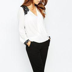 Lace Patchwork V Neck Shirt Long Sleeve Blouse