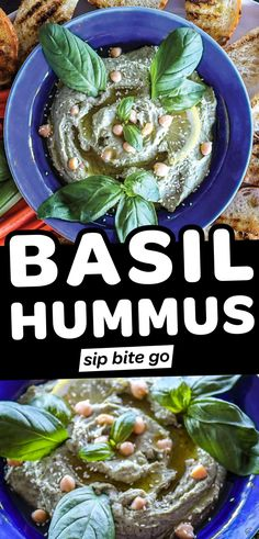 Meet your new favorite hummus appetizer: creamy basil hummus. In 15 minutes, you can make this delicious blend of herbs, tahini and chickpeas. Top with garbanzo beans, tomatoes, olive oil, or pesto for a healthy Mediterranean appetizer everyone loves. | sipbitego.com Make Hummus, Homemade Hummus, Hummus Recipe, Fun Easy Recipes, Easy Meals, Healthy Recipes, Dip Recipes, Amazing Recipes, Delicious Recipes